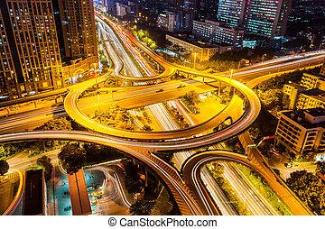 échange, closeup, nuit, autoroute, ville