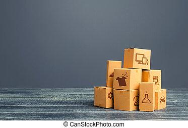 échange, fret, logistique, transportation., sales., stockage, commercer, marchandises, warehousing., vente au détail, global, produits, carton, production, distribution, marchandises, importation, business, export., tas, boxes.
