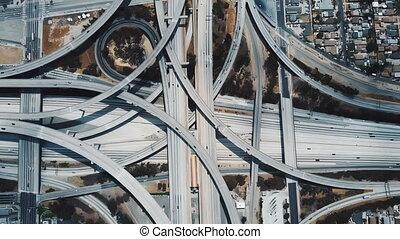 échange, jonction, usa., angeles, lockdown, par, grand, los, surprenant, complexe, en mouvement, voitures, aérien, autoroute, vue