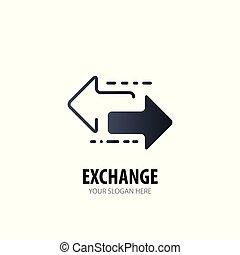 échange, logotype, simple, conception, logo, idée, business, company.