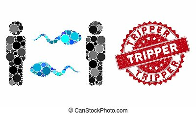 échange, personnes, sperme, timbre, détresse, tripper, collage