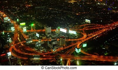 échange, résumé, timelapse, bangkok, nuit, autoroute