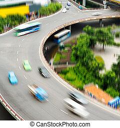 échange, shanghai, aérien, pile, vue