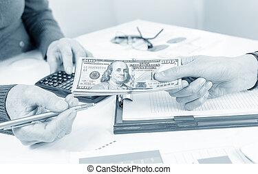 échanger, billets banque, dollar, professionnels