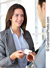 échanger, carte affaires, gens