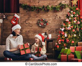 échanger, dons, fille, mère