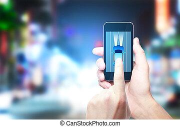 échanger, gps, concept, taxi, app