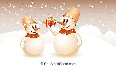 échanger, snowmen, noël, gifts.