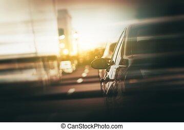 échanger, trafic, après-midi