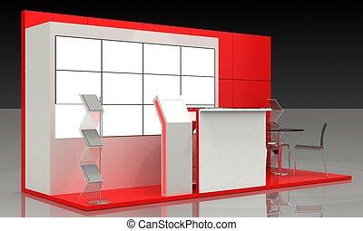 échantillon, interior-exterior, exposition, stand