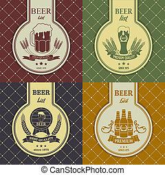 échantillon, menu, grande tasse, ensemble, bière