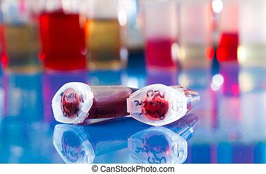 échantillon, réaction, cellules, tube, tige