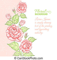 échantillon, text., silhouette, rose