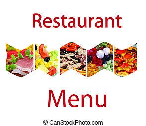 échantillon, toile, restaurant, page, menu's