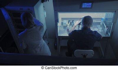 échantillons, moderne, examine, scientifique, experiments., embryologist, microscope, laboratoire, conduite