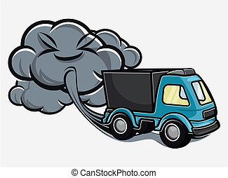 échappement, souffler, camion, dessin animé, vapeurs