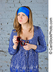 écharpe bleue, tête, girl, elle