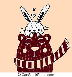 écharpe, mignon, lapin, illustration, ours