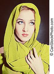 écharpe principale, beau, portrait, femme, clair, vert, jeune