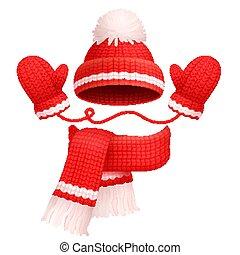 écharpe, vecteur, chapeau, mitaines, illustration