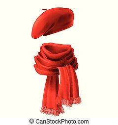écharpe, vecteur, réaliste, béret, rouges, 3d