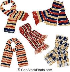 écharpes, tricoté
