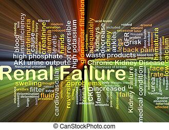 échec, incandescent, concept, rénal, fond