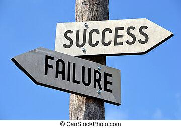 échec, reussite, poteau indicateur