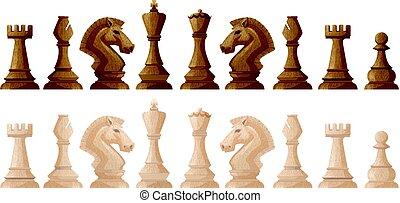 échecs, couleurs, deux morceaux