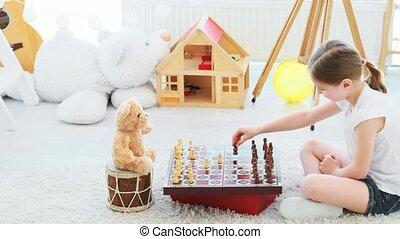 échecs, girl, peu, jouer, teddy