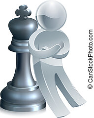 échecs, homme argent