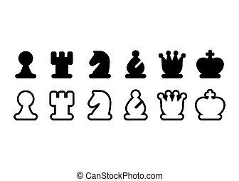 échecs, icône, morceaux, ensemble