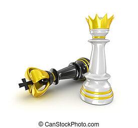 échecs, isolé, blanc, fond