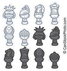 échecs, isolé, dessin animé