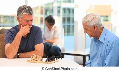 échecs, jouer, hommes