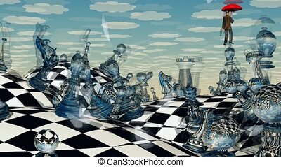 échecs, paysage, surréaliste