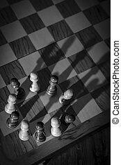 échecs, pion, ombre, couronne