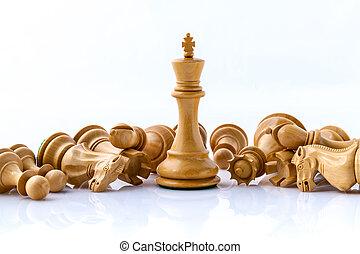 échecs, sauver, strategy., roi, concept