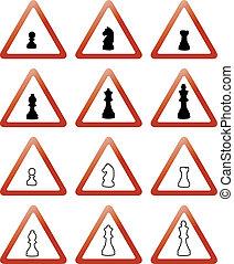 échecs, signes, morceaux, trafic