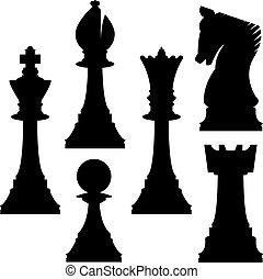 échecs, silhouettes