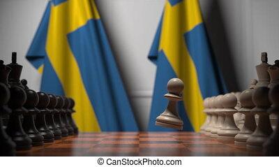échecs, suède, apparenté, drapeaux, animation, rivalité, gages, politique, 3d, jeu, ou, chessboard., derrière