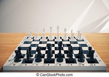 échecs, table, bois, jeu