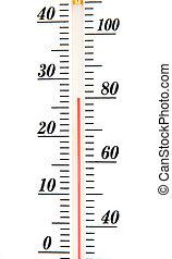 échelle, atmosphérique, isolé, fond, thermomètre, blanc