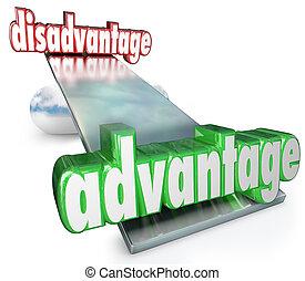 échelle, avantage, compétitif, vs, équilibre, balançoir, désavantage