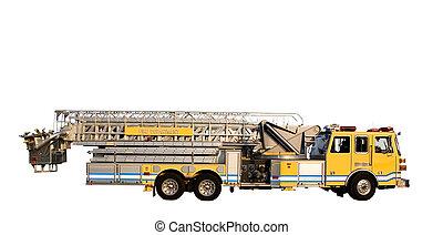 échelle, camion, côté, isolé