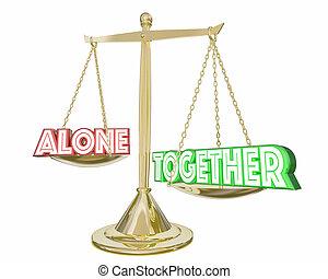 échelle, collaboration, illustration, vs, ensemble, coopération, seul, 3d