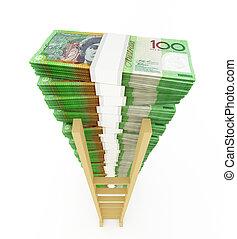 échelle, dollar, australien, pile