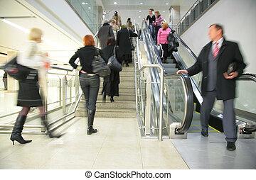 échelle, escalator, gens