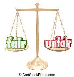 échelle, foire, justice, injuste, vs, injustice, mots, équilibre