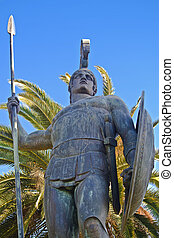 échelle, grand, statue, grèce, achille, corfu